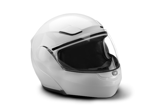 Motorcycle helmet isolated on white background, safety and protection