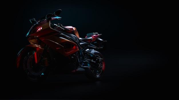 Мотоцикл в студии. 3d-рендеринг и иллюстрация.
