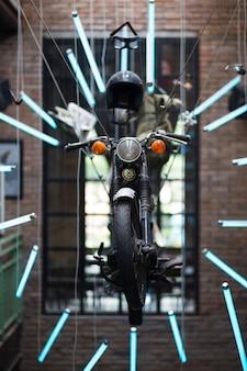 Motorcycle interior installation in pub