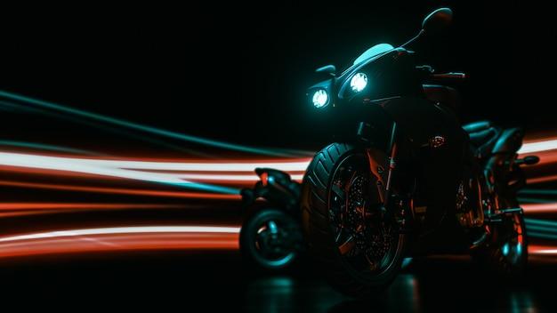Мотоцикл светлый сзади. 3d визуализация и иллюстрации.