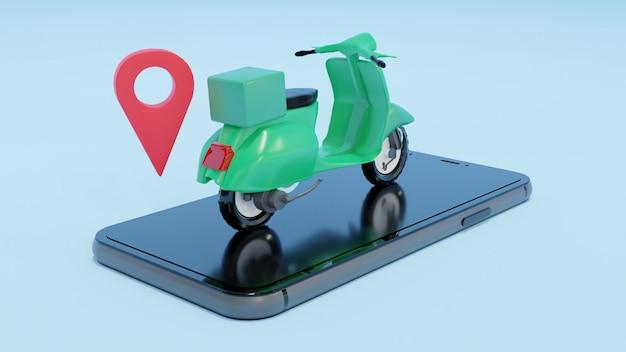 오토바이 온라인 배달 3d 렌더링