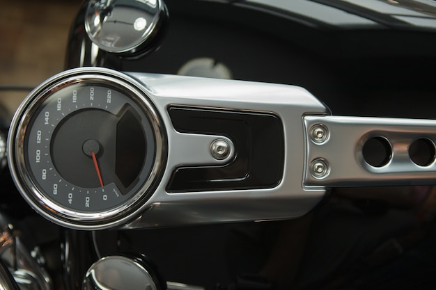 Motorcycle speedometer and part of the gas tank