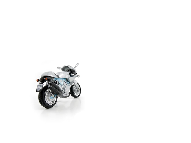 Motorcycle toy on white background