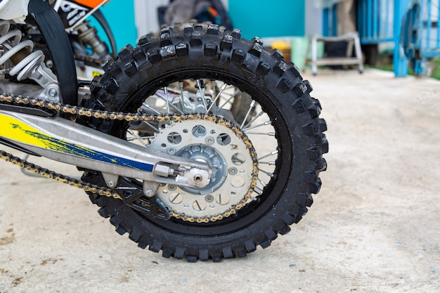 Motorcycle wheel close up