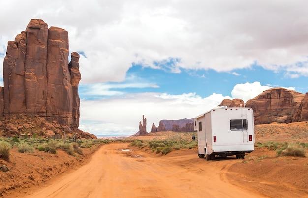 Motorhome in desert landscape