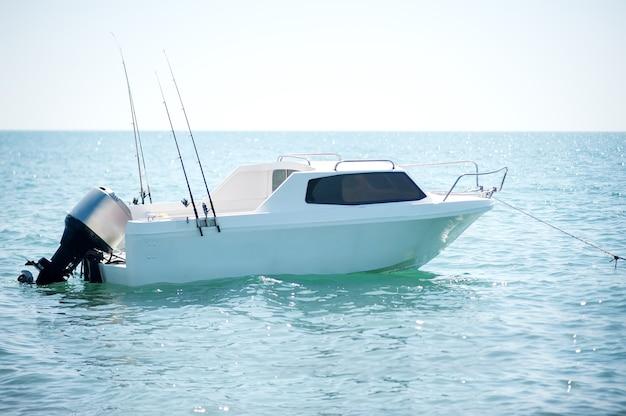 Моторизованная лодка с удочками на воде