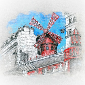 Moulin rouge is famous cabaret, the birthplace of the can-can dance, located in the paris
