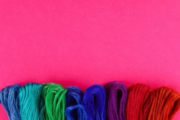 Mouline. multicolored thread for embroidery. colorful thread for embroidery. threads of a moulin.