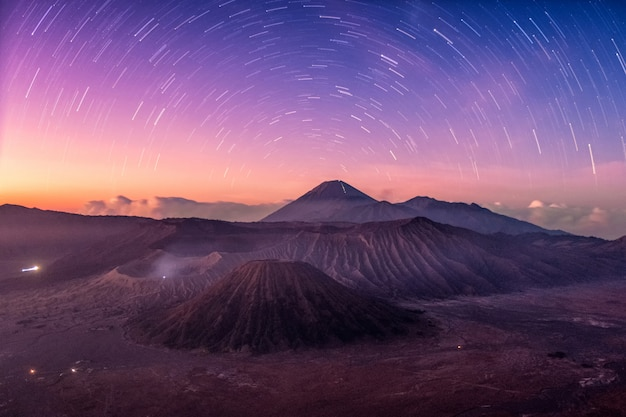 Mount active volcano, batok, bromo, semeru with starry at dawn