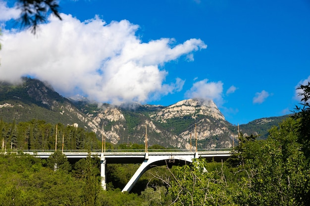 Mount avunda with a road bridge in the mountainous crimea. landscape