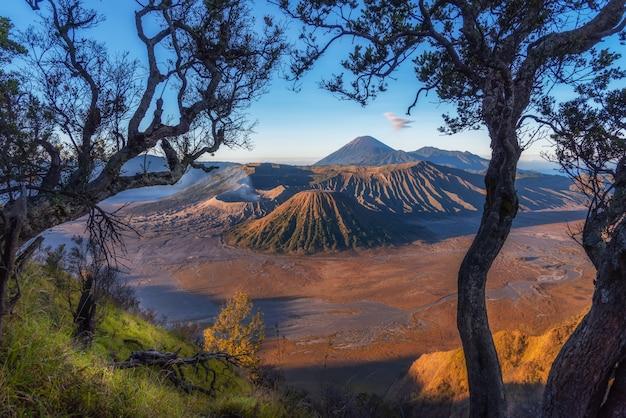 Гора бромо, действующий вулкан и часть массива тенгер, в восточной яве, индонезия.
