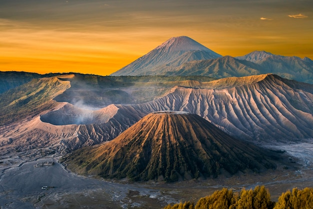Mount bromo volcano (gunung bromo) during sunrise from viewpoint on mount penanjakan