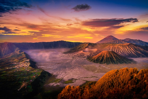 Mount bromo volcano (gunung bromo) at sunrise with colorful sky