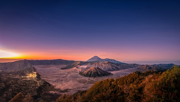 Mount bromo volcano at sunrise with colorful sky background in bromo, east java, indonesia