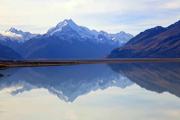Mount cook at lake pukaki