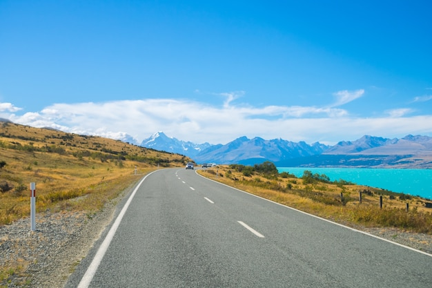 Mount cook view point with lake pukaki and the road leading to mount cook village in new z