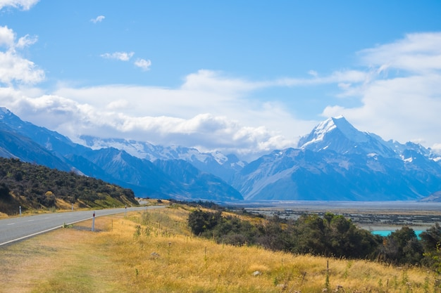 Mount cook view point with lake pukaki and the road leading to mount cook village in new zealand