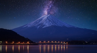 Mount fuji at Lake kawaguchiko, twilight