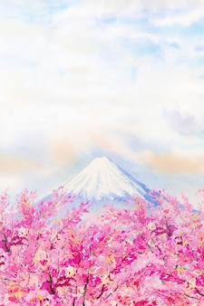 Mount fuji and cherry blossom in japan spring season. watercolor painting landscape illustration. popular famous landmark in the asia