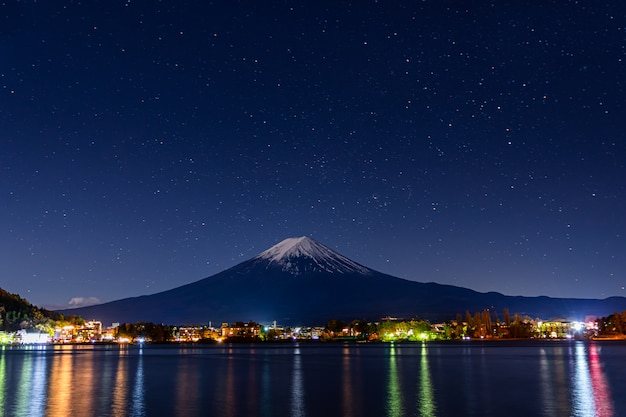 Mount fuji at early night.