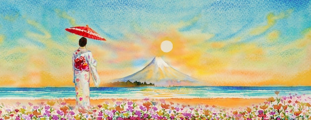 Mount fuji  and japanese woman