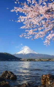 湖の近くの富士山