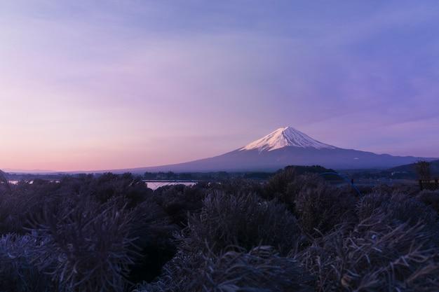 Гора фудзи сан на озере кавагутико в японии, утренний восход солнца