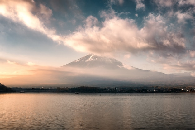 Mount fuji with clouds covered in morning