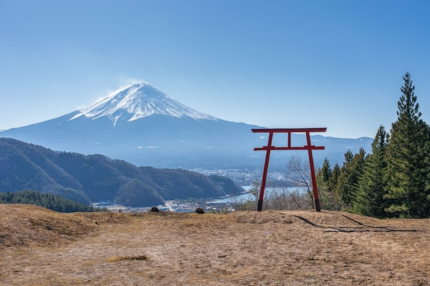 Mount fuji with torii gate in kawaguchiko, japan.
