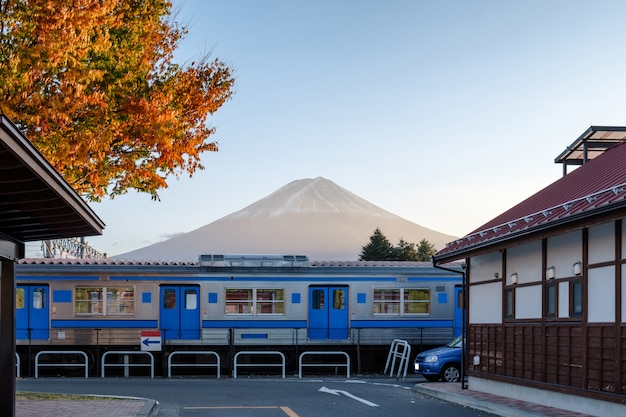 Mount fuji with train railway in kawaguchiko station
