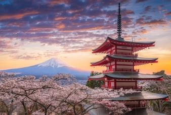 Mount Fujisan beautiful landscapes on sunset.