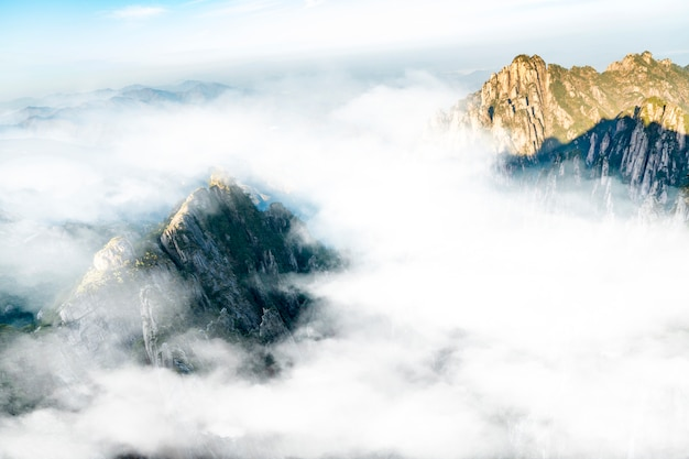 황산 qifeng 산 바위 바다 풍경