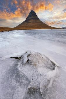 Mount kirkjufell iceland.iceland landscape cold panorama at sunset.