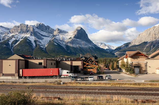 Mount lawrence grassi with village near the railway at canmore