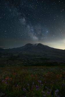 Mount st. helens sunset sky stars milkway