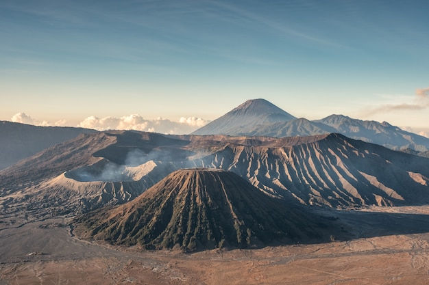 Mount volcano an active, kawah bromo, gunung batok at morning