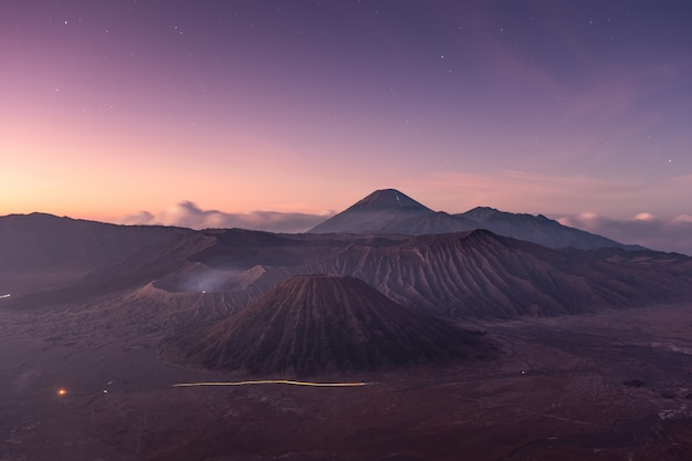 Mount volcano an active with star at dawn