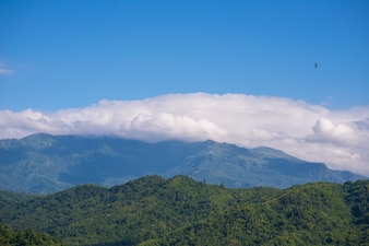 Mountain and cloud with blue sky