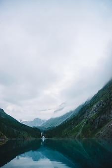 Mountain atmospheric landscape with mountain lake