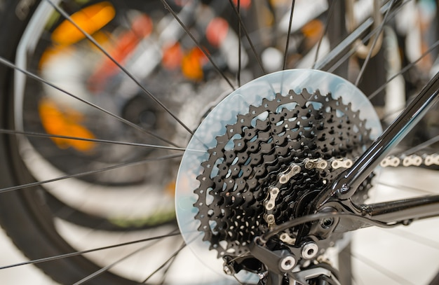 Mountain bicycle in sports shop, focus on rear wheel with gear shift system, nobody. summer active leisure, showcase with bikes, cycle sale, professional biking equipment