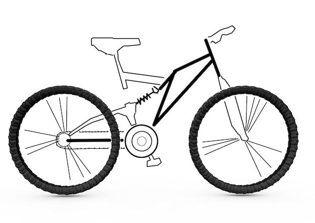 マウンテンバイク、立体的な名誉、鉛筆で描かれた作品。自転車レイアウトの3dレンダリング