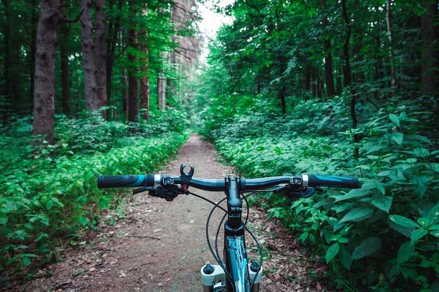 Горный велосипед вниз по склону быстро спускается на велосипеде