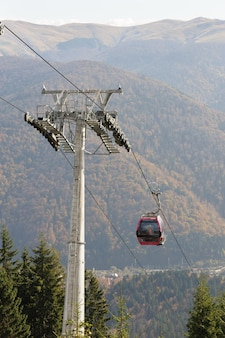 Mountain cableway during the summer