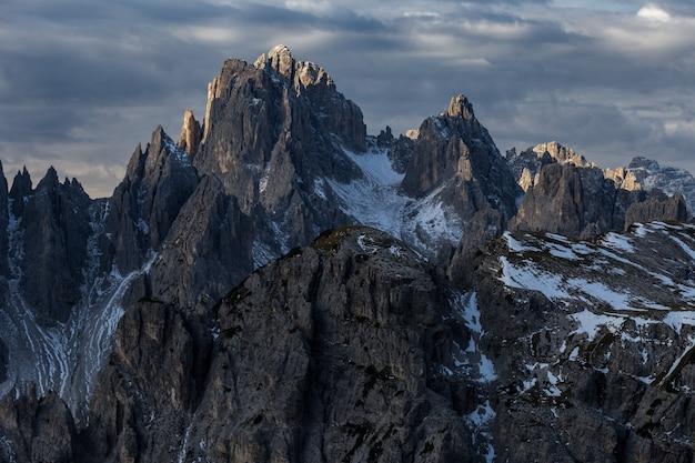 Mountain cadini di misurina in the italian alps during the sunset
