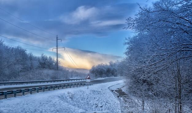 산 숲 도로 풍경 눈 겨울 감기