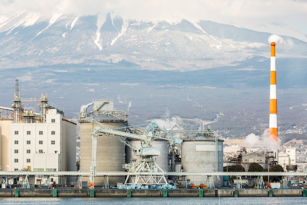 Mountain fuji and factory