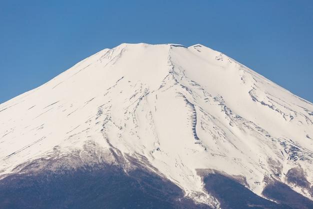 晴れた日に湖の山中湖から富士山