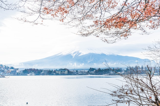 Mountain fuji san with cloudy
