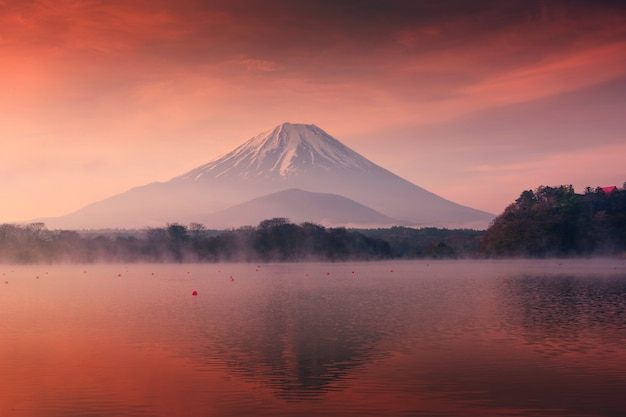 Mountain fuji and shoji lake at dawn