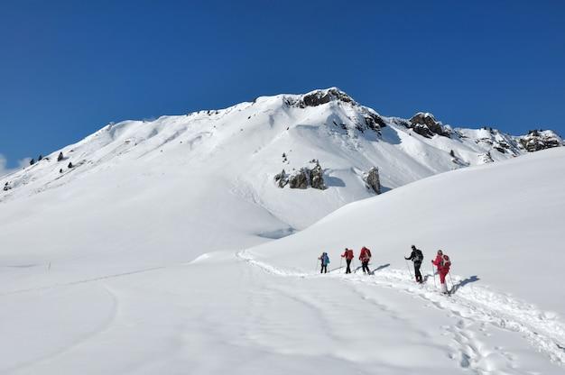 Mountain hiking in winter